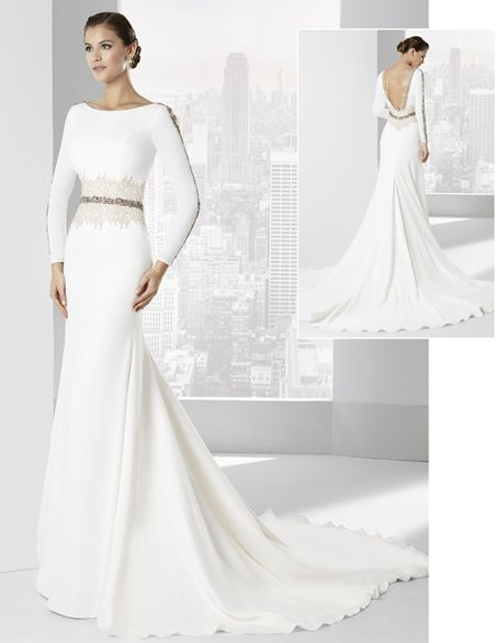 """vestidos de novia con escote pico y falda línea """"a"""" de franc sarabia"""