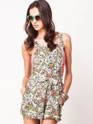 67b7f40a63 KOOVS Belted Dungaree In Floral Print Playsuits Online