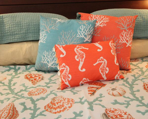 Coastal Coral is a lovely freestyle coral on a Turquoise or Bright Coral backdrop. Coral in white and gray.  Love the shell beading on the boudoir pillow!