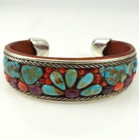 Floral Inlay Cuff by Charlie Favour - Garland's Indian Jewelry