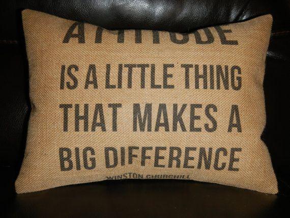 Attitude Quote Winston Churchill Burlap by