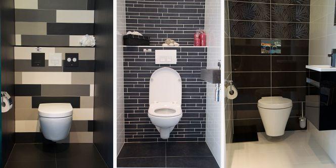 Zwarte smalle tegels met witte voegen toilet pinterest tegels toiletten en badkamer - Zwarte badkamer witte ...