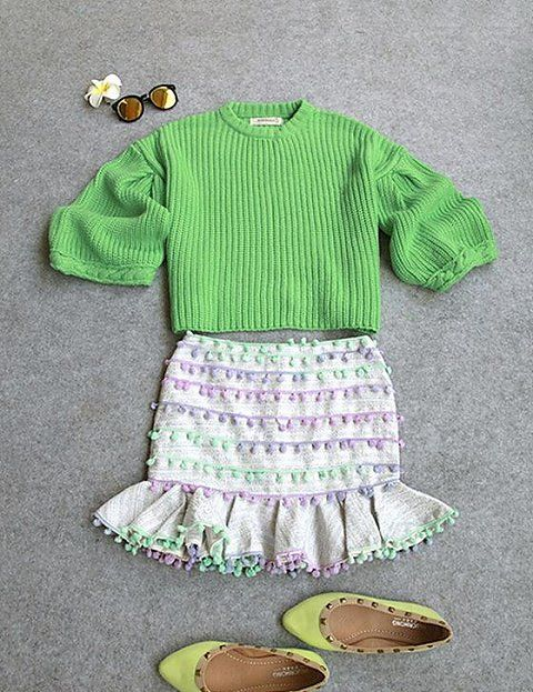 Zhao咪咪的小铺子,2014秋季新款 韩版修身显瘦 七分袖粗毛线针织毛衣 人鱼包臀套装