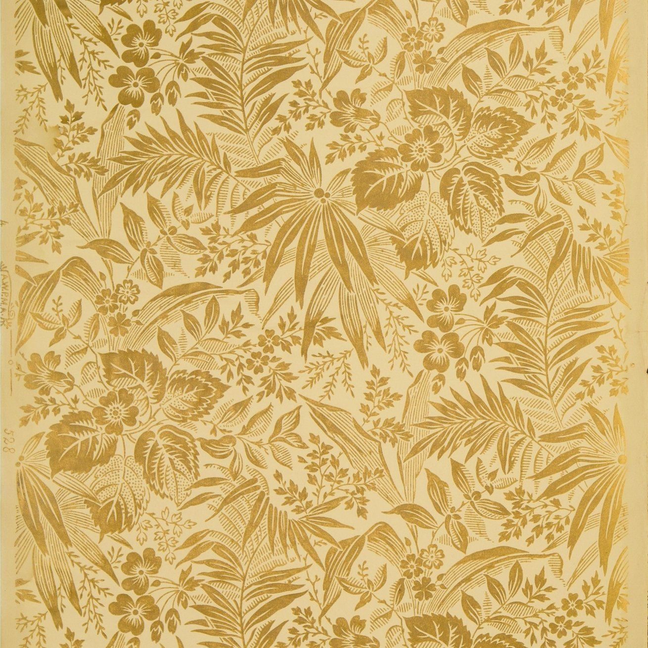 Gilt Flowers and Leaves Antique Wallpaper Remnant