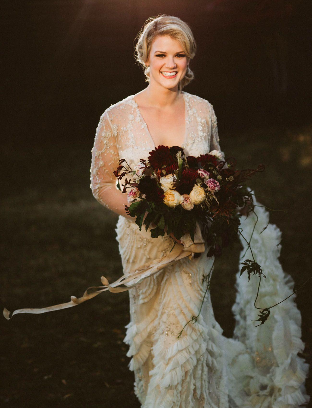 Brown wedding dresses  Modern Meets Old Hollywood A Glamorous VintageInspired Wedding in