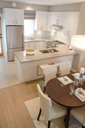Ideas Para Integrar Sala Comedor Y Cocina Sala Comedor Y Cocina En Un Solo Ambiente Pequeno Sal Tiny Kitchen Design Kitchen Remodel Small Kitchen Design Small