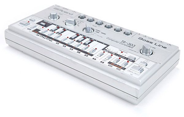 Roland TB-303 - The TB-303 is THE sound of acid and techno house music! It's a monophonic analog bass synthesizer married to a pattern-based step sequencer released in 1982. It features a single analog oscillator with two waveforms (ramp or square) and has a simple but excellent VCF (filter) with resonance, cut-off, and envelope controls. There are also knobs to adjust tuning, envelope decay, tempo and accent amount.