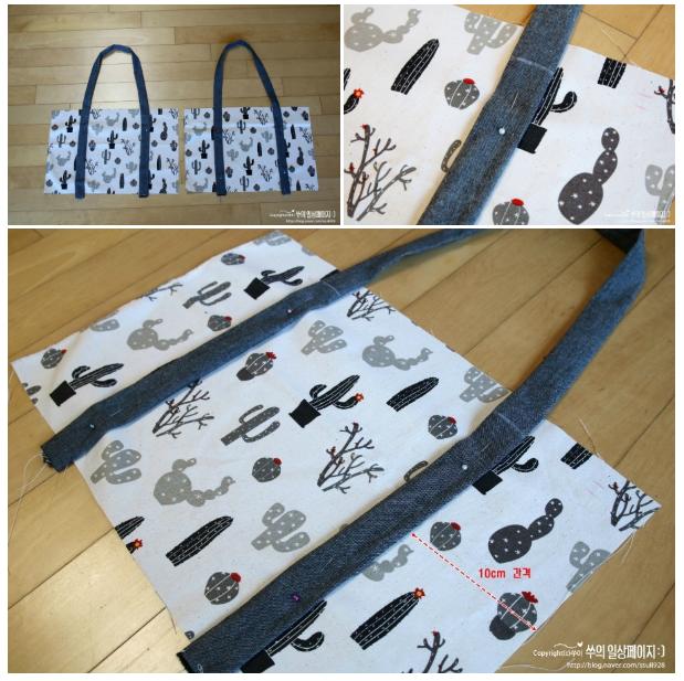 Patrón y tutorial de costura libre de la bolsa de compras ecológica de tela de doble cara de bricolaje
