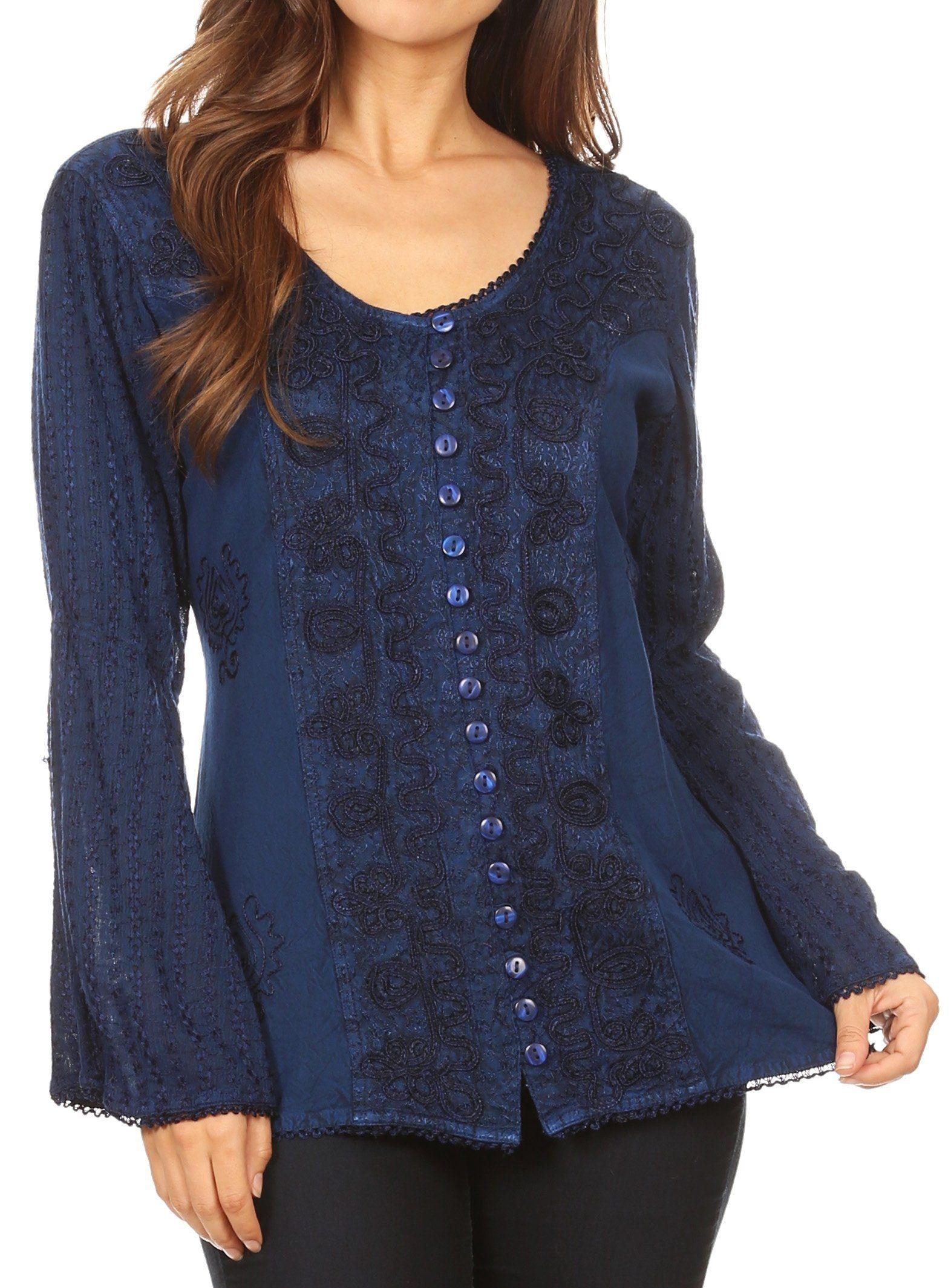 Sakkas Salma Womens Button Down Long Sleeve Blouse Top Shirt Stonewashed and Lace