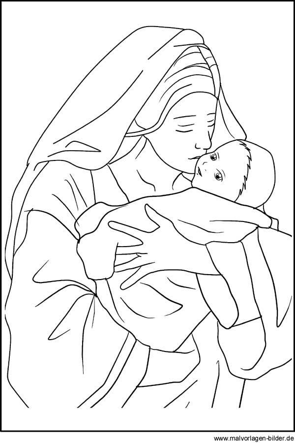 maria und das jesuskind als malvorlage ausmalbild und