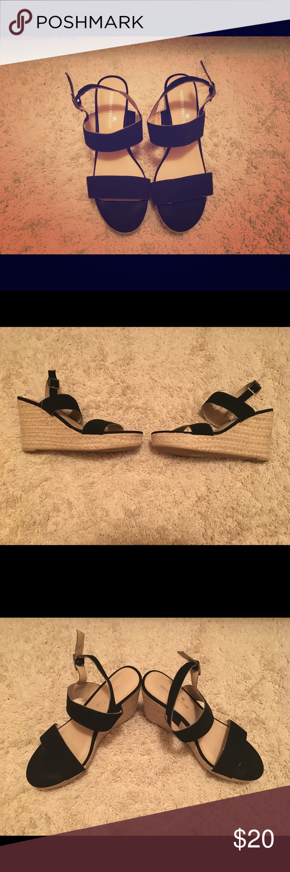 Women's black espadrille wedges Worn once. Very good condition. Adjustable straps. Open to negotiations. Shoes Sandals