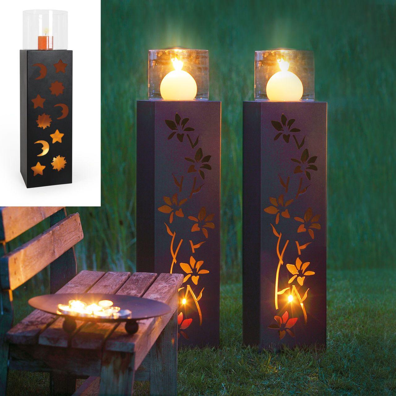 S ulen flora und sole mit windlicht garten pinterest for Rost lampen garten