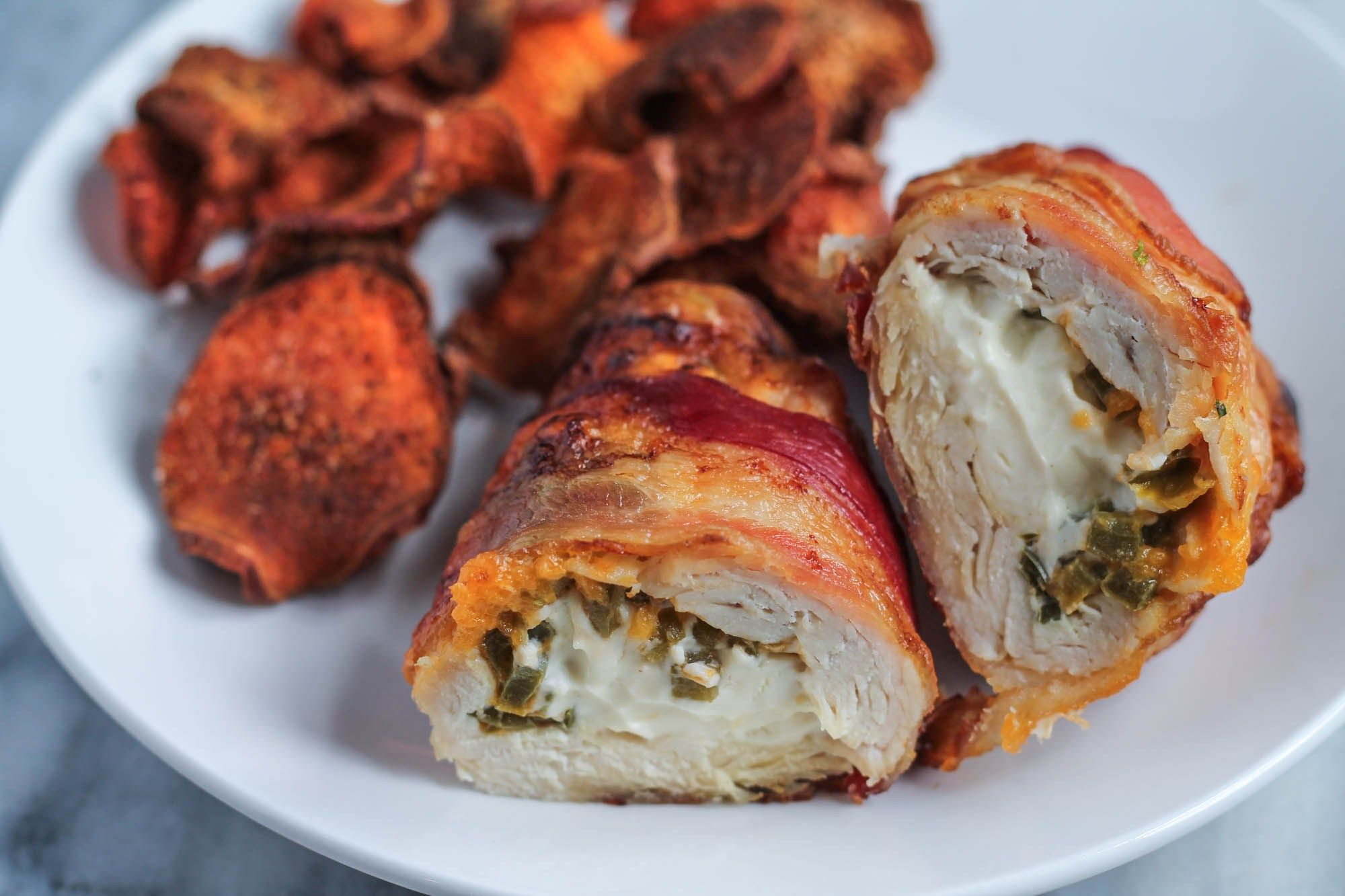 Bacon Wrapped Jalapeño Popper Chicken plated & Bacon Wrapped Jalapeño Popper Chicken plated | Dinner ideas ...
