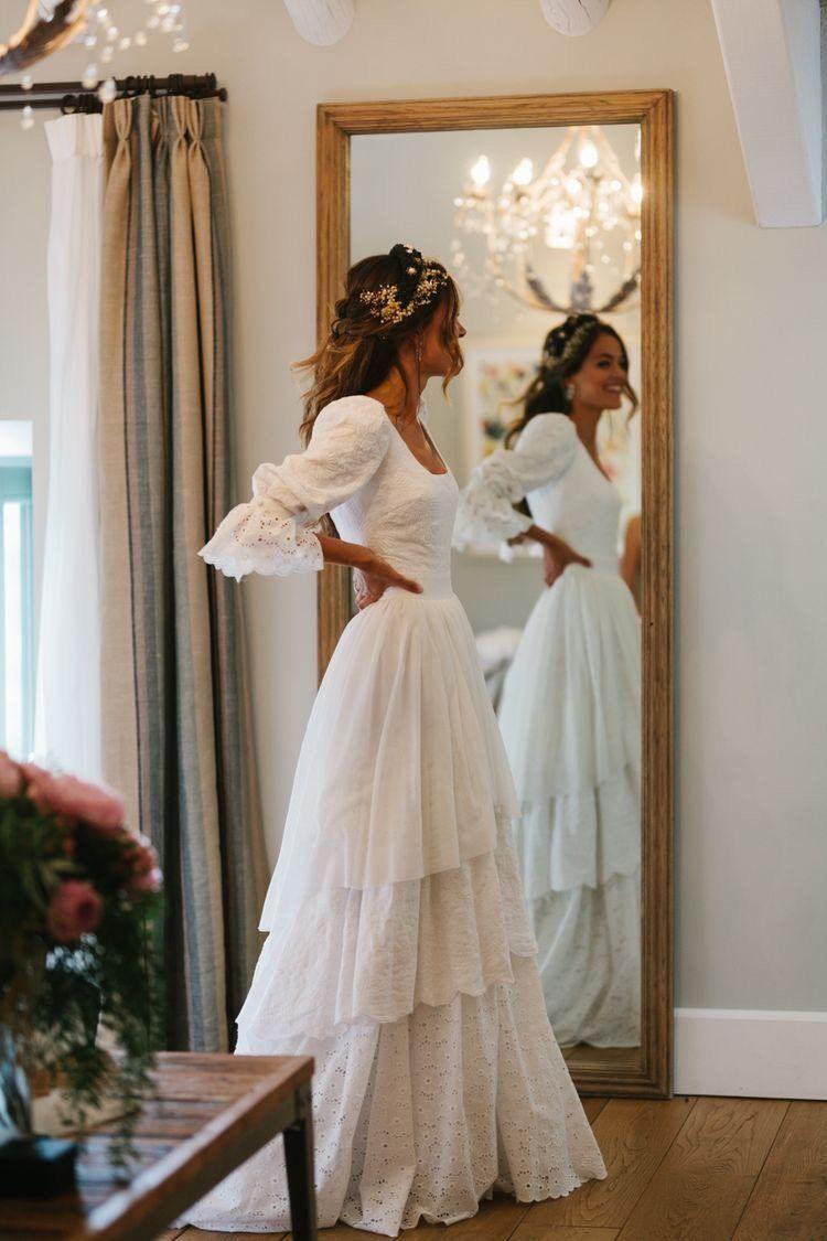 Lace Wedding Dresses,dresses, Rustic Wedding Dress,3/4 Sleeves Lace bridal gown, Lantern sl...