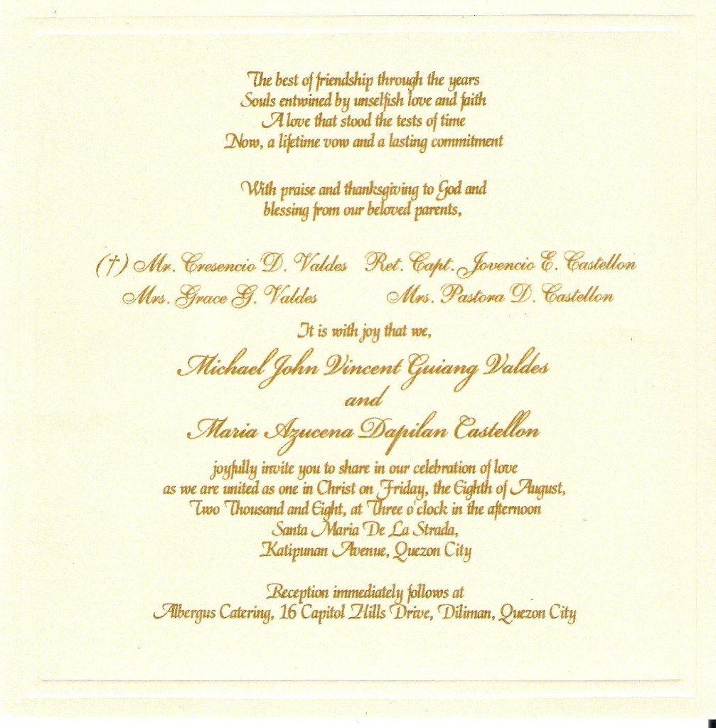 Catholic Wedding Invitation Wording For Reception Card Lovely Weddingindian: Catholic Wedding Invitation Cards At Reisefeber.org