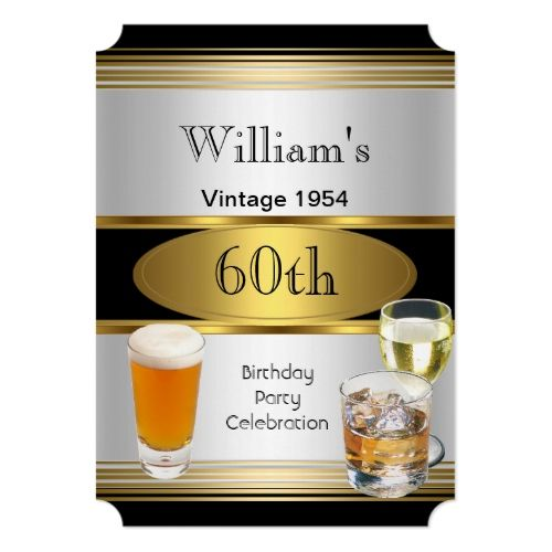 Vintage Mens 60th Birthday Party Gold Silver Beer Invitation