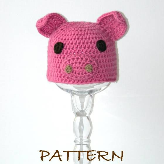 Crochet Baby Animal Hat Pattern - Baby Pepin the Pig Critter Hat - 3 ...