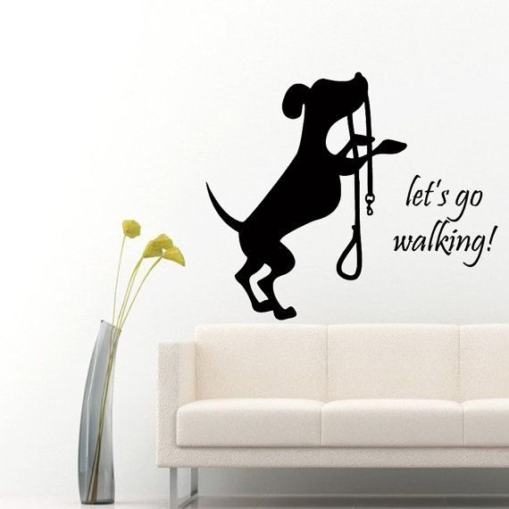 Pets Wall Decals Let's Go Walking Dog Puppy by DecalMyHappyShop