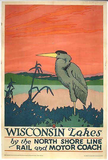 The North Shore Line 1920 To Milwaukee Vintage Poster Print Retro Style RR Art