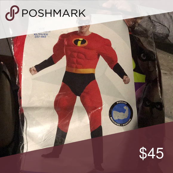 Men Xl Mr Incredible Costume Nwt The Incredibles One Piece Man Men