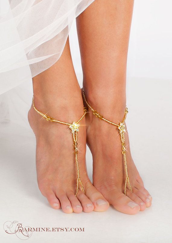 3e028d1f6d4e7d Pie de oro moldeado sandalias pies descalzos nupcial regalos Crochet  Barefoot Sandals