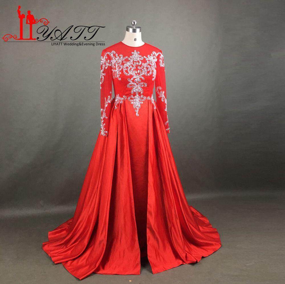 Liyatt muslim evening dress crystal formal gown long sleeves
