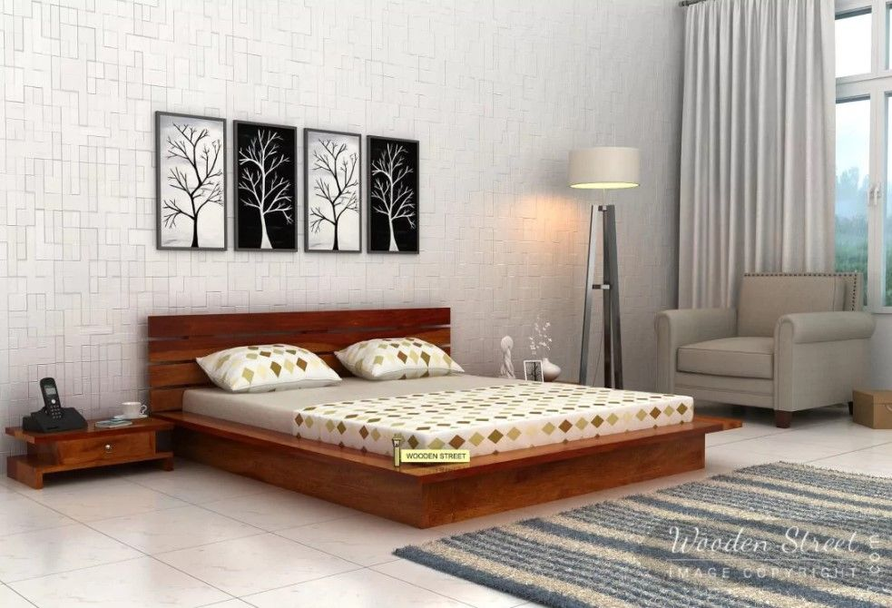 Buy Dwayne Low Floor Platform Bed (King Size, Honey Finish