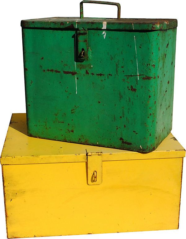 One Kings Lane - The Industrial Home - 1940s Industrial Boxes, Set of 2