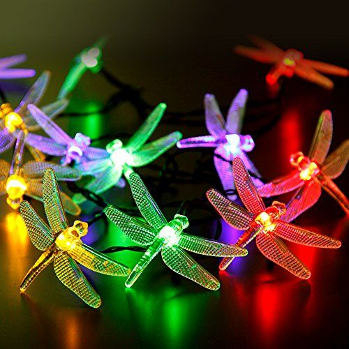 CYLAPEX LED Solar String Lights Outdoor Multicolor Dragonfly 20 LEDs - solar christmas decorations