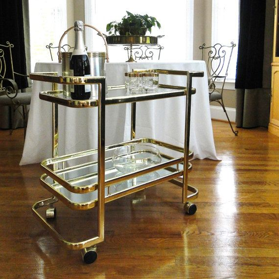 Vintage Bar Cart Hollywood Regency Gleaming Gold Geometric Rectangle Rolling Two Tiered Tray Buffet On Wheels
