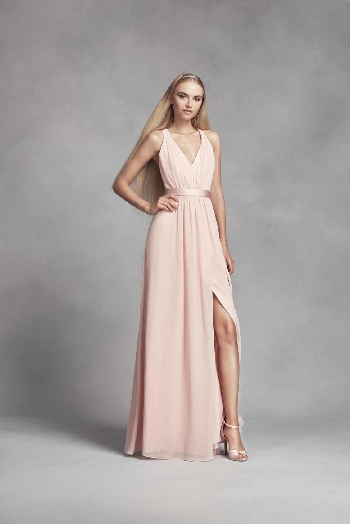 Long Petal Pink Halter Chiffon Dress With Low Crisscross Back White By Vera Bridesmaid