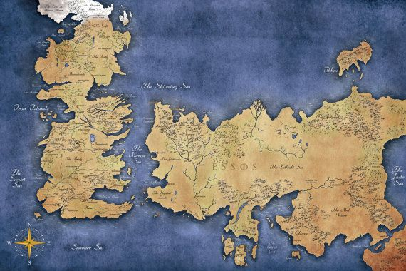 Game of Thrones Map of Westeros and Essos, Game of Thrones Map, Game ...