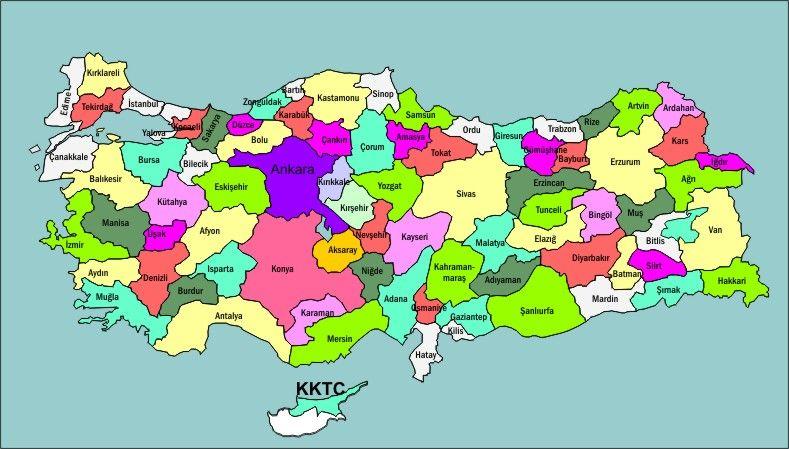 Turkiye De Kac Il Ve Ilce Var 2017 Guncel Harita Turkiye Cografya