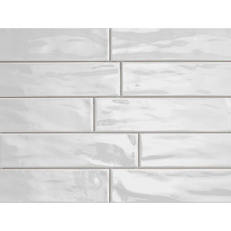 porcelain subway tile in ice shiny