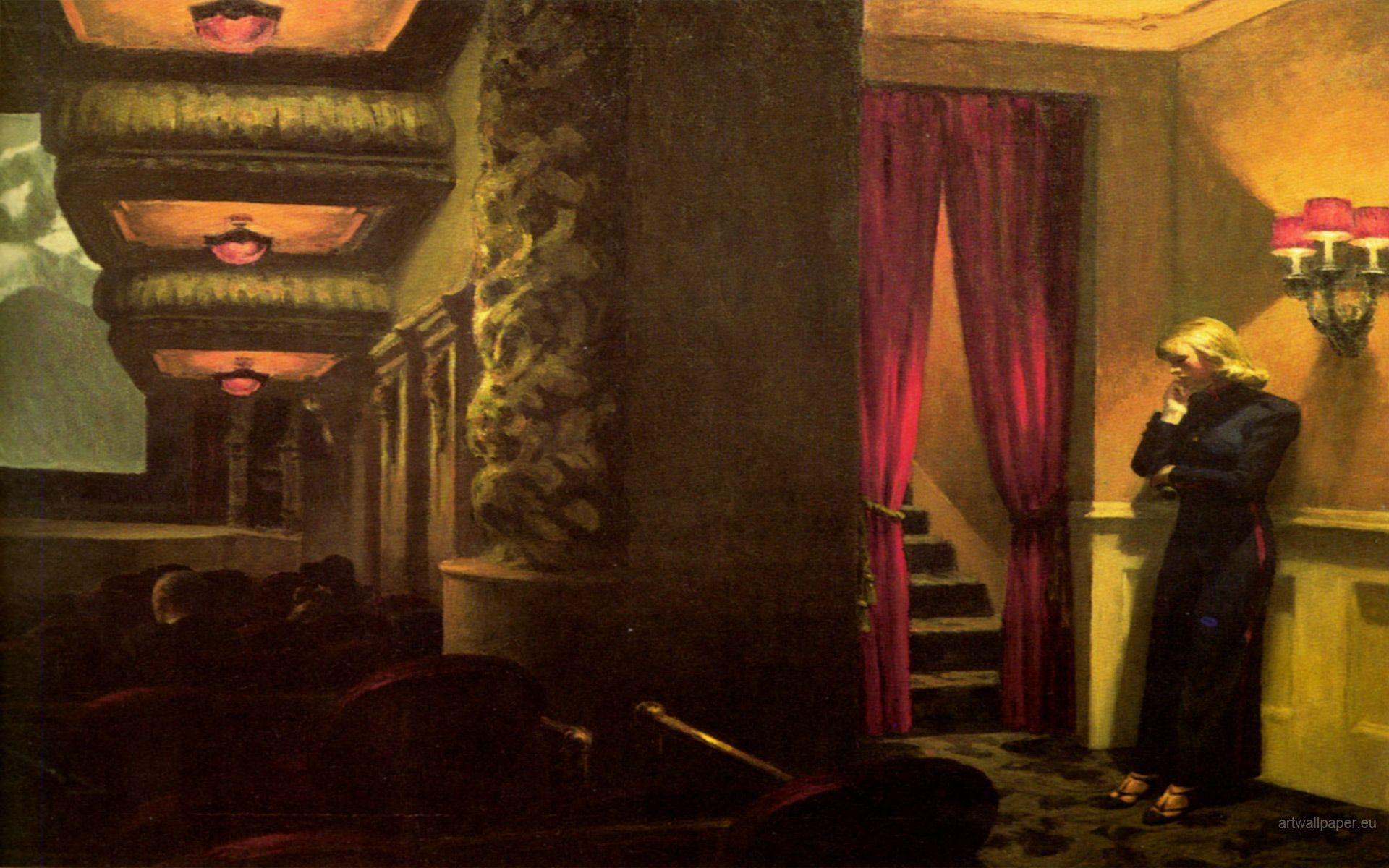 night theater Edward hopper paintings, Edward hopper