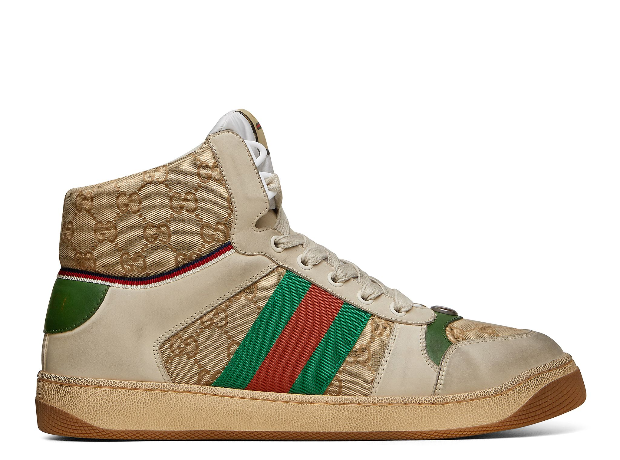 43734648b GUCCI MENS SCREENER GG HIGH-TOP SNEAKER. the spring summer 2019 collection  continues to
