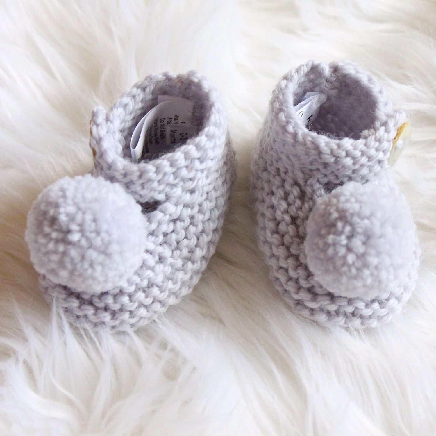Hand Knitted Baby Mary Jane style Bootie shoe with Pom Pom to fit NB