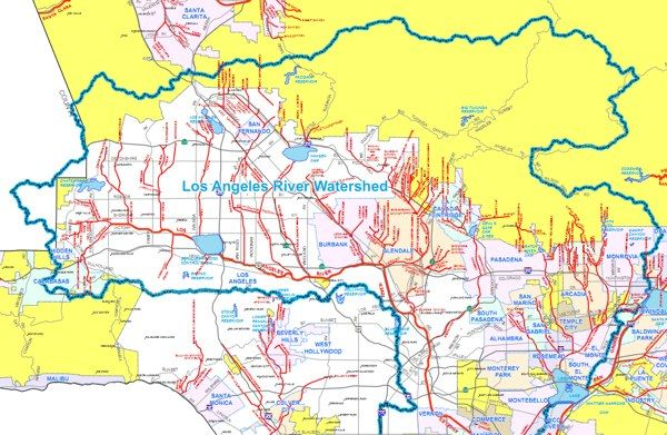 Los Angeles River Watershed City Maps Map Watersheds