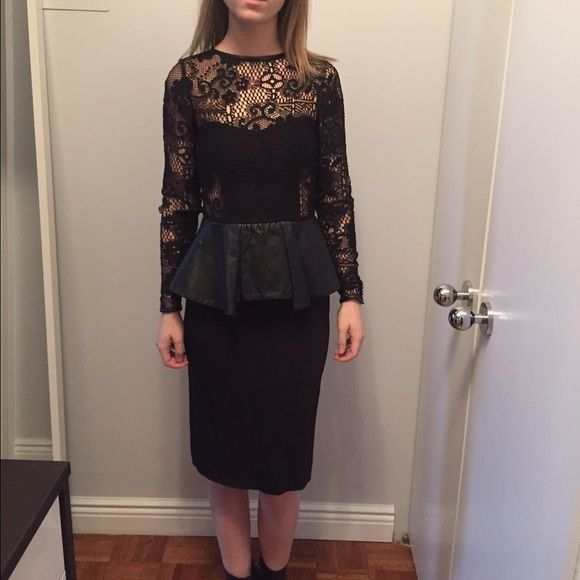 Zara Studio Lace Dress With Leather Peplum Lace Top With Hidden Zip
