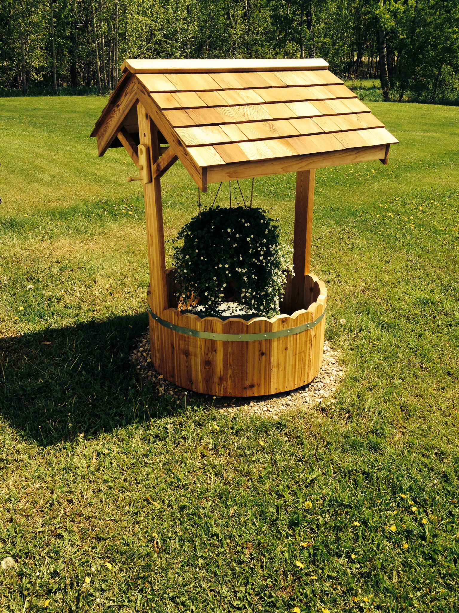 wishing well with planter to hide septic tank just bottom barrell part
