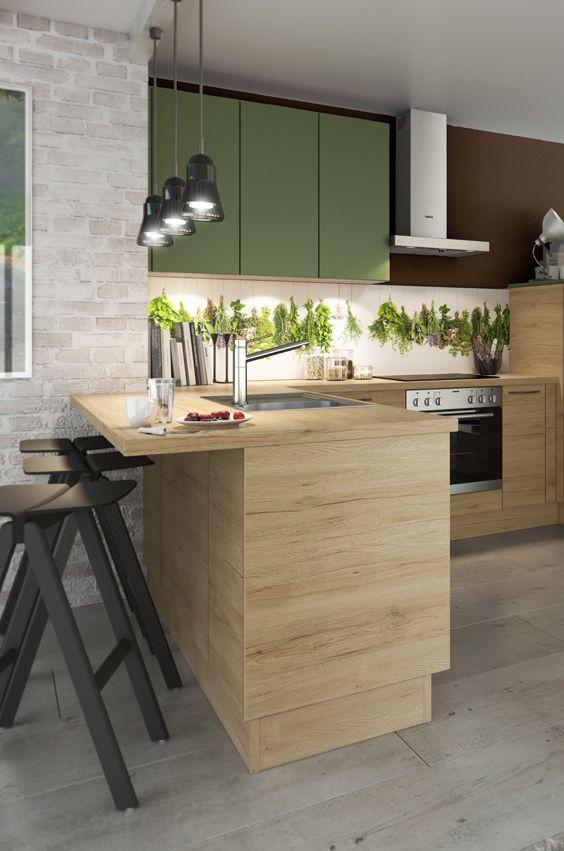 Holz Und Grun Eine Tolle Farbkombi Fur Eine Naturliche Kucheneinrichtung Moderne Kuche Kuchen Design Kuche
