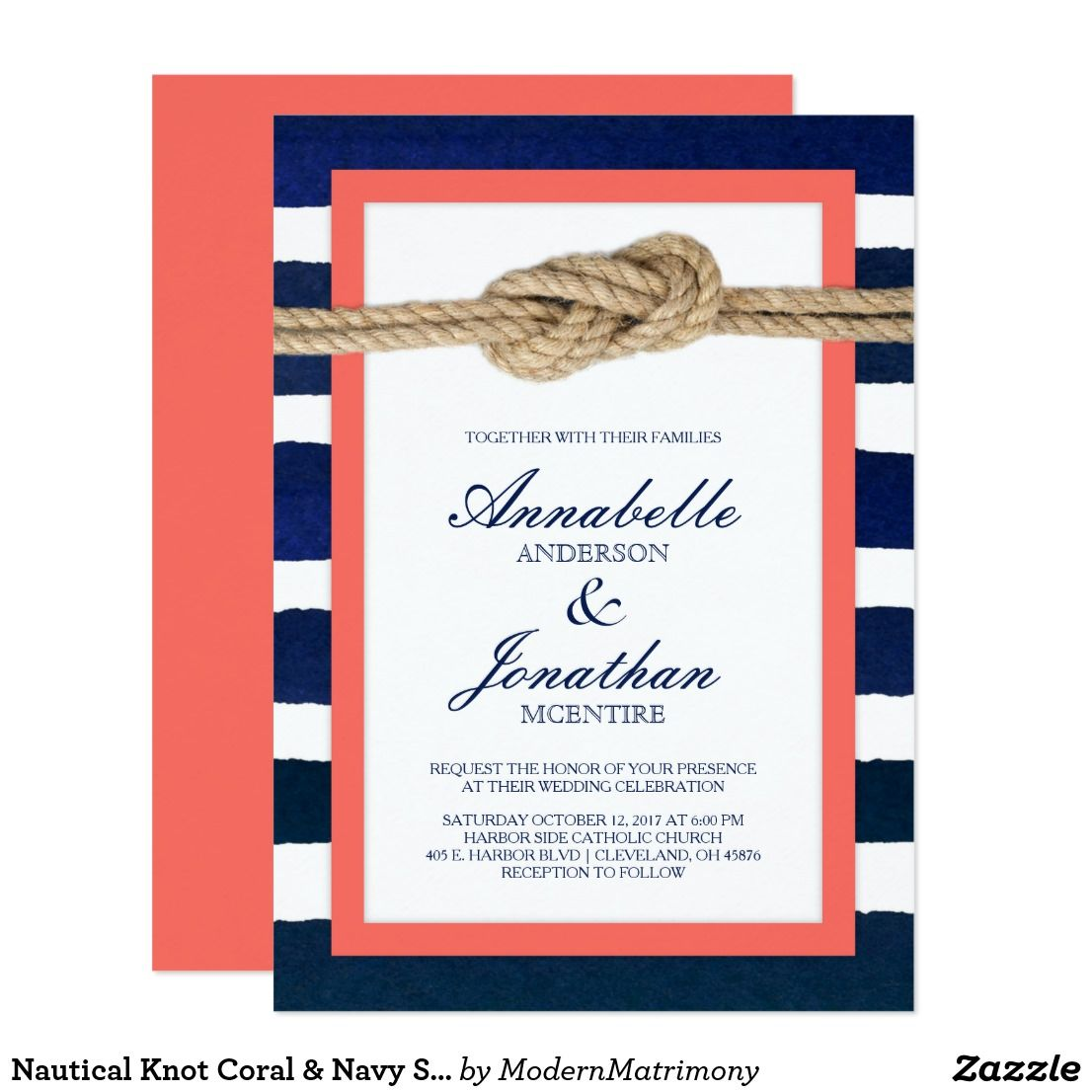 Nautical Knot Coral & Navy Stripes Wedding Card | Coral navy ...