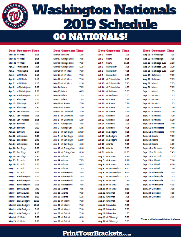 Washington Nationals 2019 Schedule Printable 2019 Washington Nationals Schedule | Printable MLB