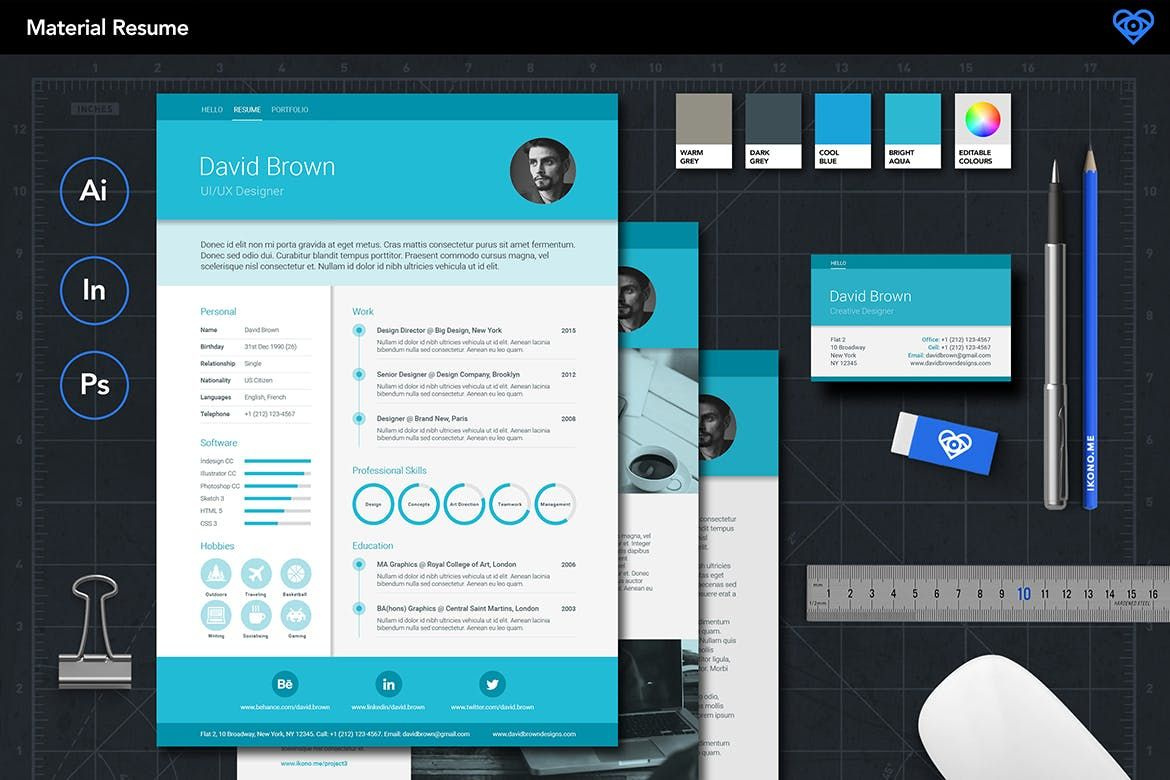 Material resume by ikonome on creative resume templates