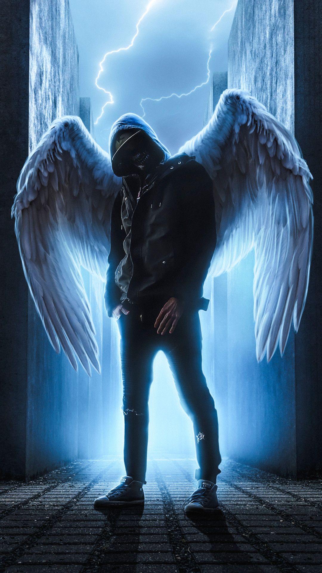 Hoodie Guy With Wings Mobile Wallpaper Iphone Android Samsung Pixel Xiaomi In 2020 Superhero Wallpaper Joker Hd Wallpaper Angel Wallpaper