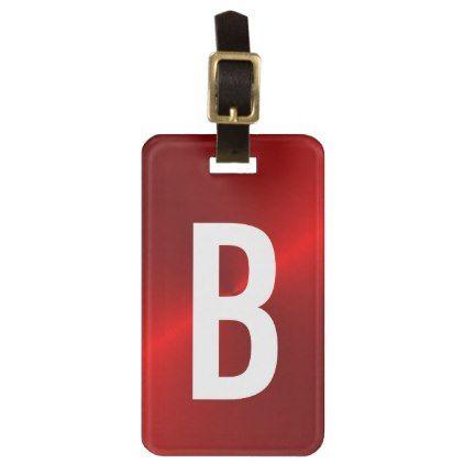Red Brushed Metallic Monogram Initial Bag Tag - template gifts - bag tag template