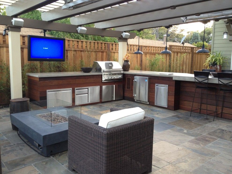 Outdoor Kitchen Wood Frame Patio Contemporary With Hanging