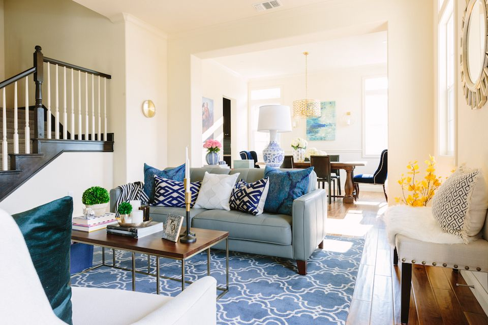 Eggshell Home Open Floor Plan Living And Dining Room Modern Glam Blue Decor Sherwin Williams Antique White