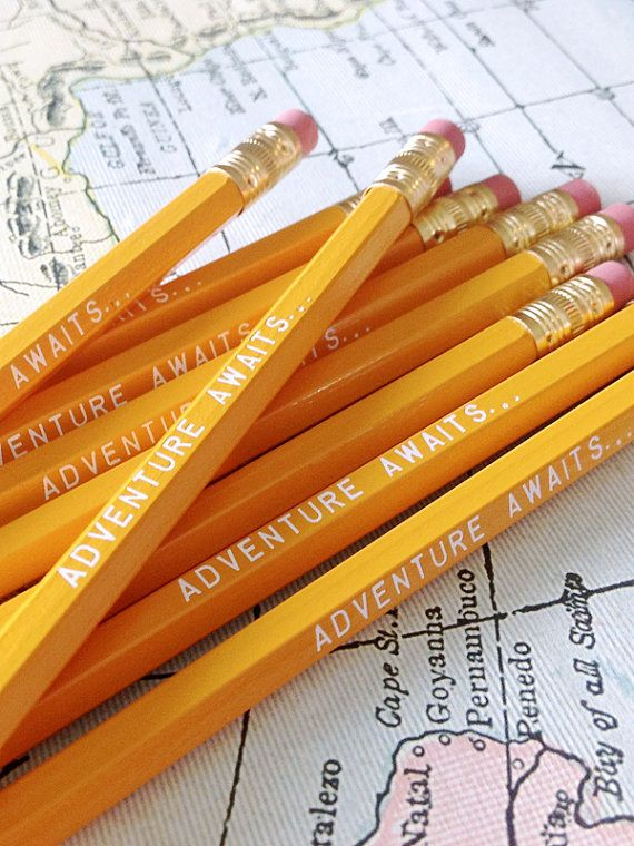 Adventure Awaits Pencil 6 Pack In Yellow Cool Stocking