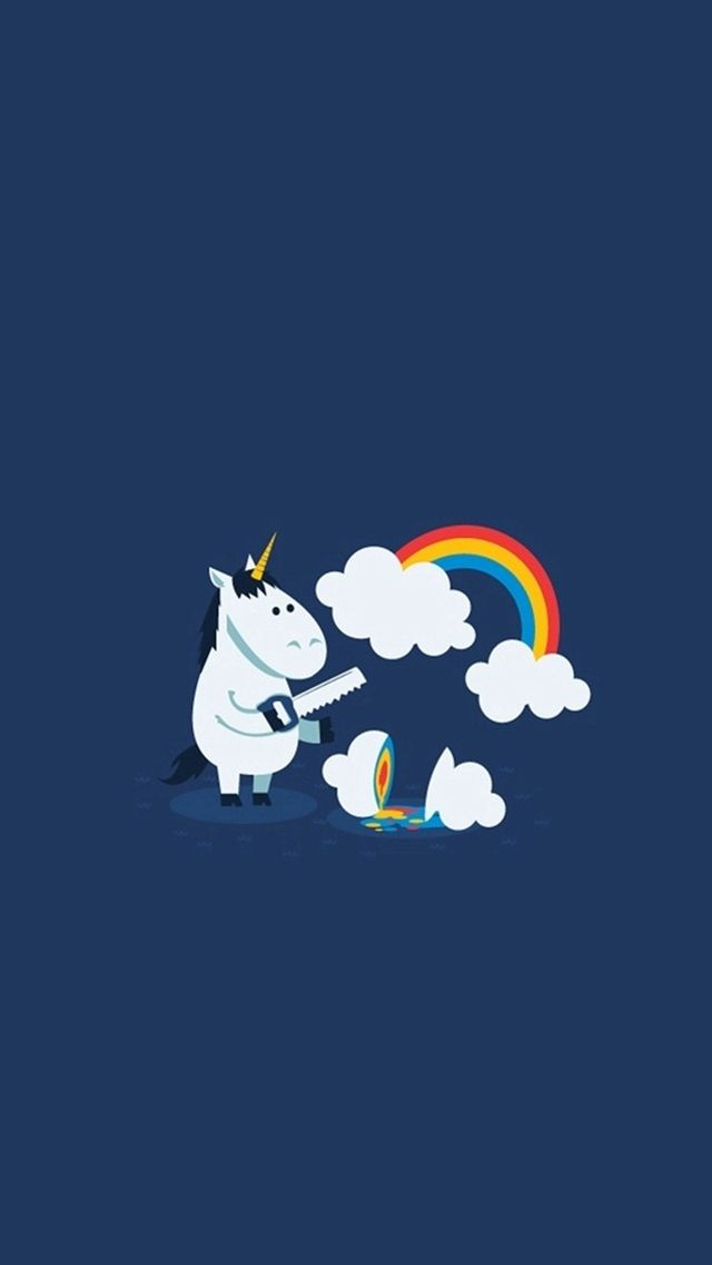 Unicorn Saw Clouds Rainbow Funny Iphone 5s Wallpaper Funny Iphone Wallpaper Unicorn Wallpaper Ipod Wallpaper